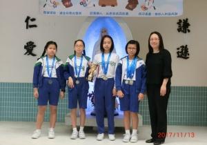 九龍東區小學校際游泳比賽 (17-18)  女子團體甲組  第六名  女子4 X 50米自由泳接力賽    第四名